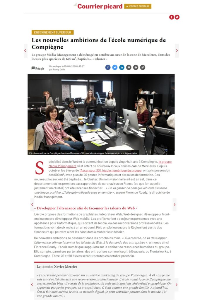 article du Courrier Picard sur l'ascenseur 301 école du numérique Compiègne