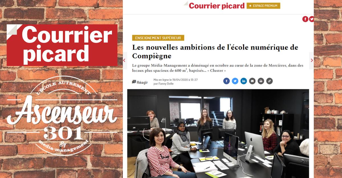 article du courrier Picard sur l'ascenseur 301, école du numérique à Compiègne